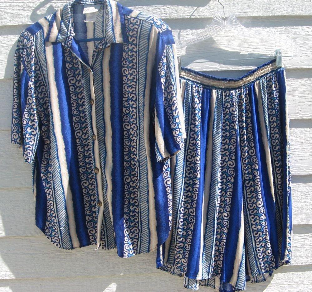 Kathie Lee Top Skorts 10 2 Pc Blouse Skirt Stripes Blue CLEARANCE