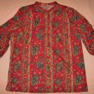 Peggy Lou Blouse Top 48 Chest Red Floral Stripe Pull Over Tunic 18
