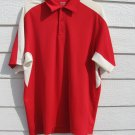 Reebok Polo Shirt L Large Play Dry 47 Chest Red White EUC CLEARANCE