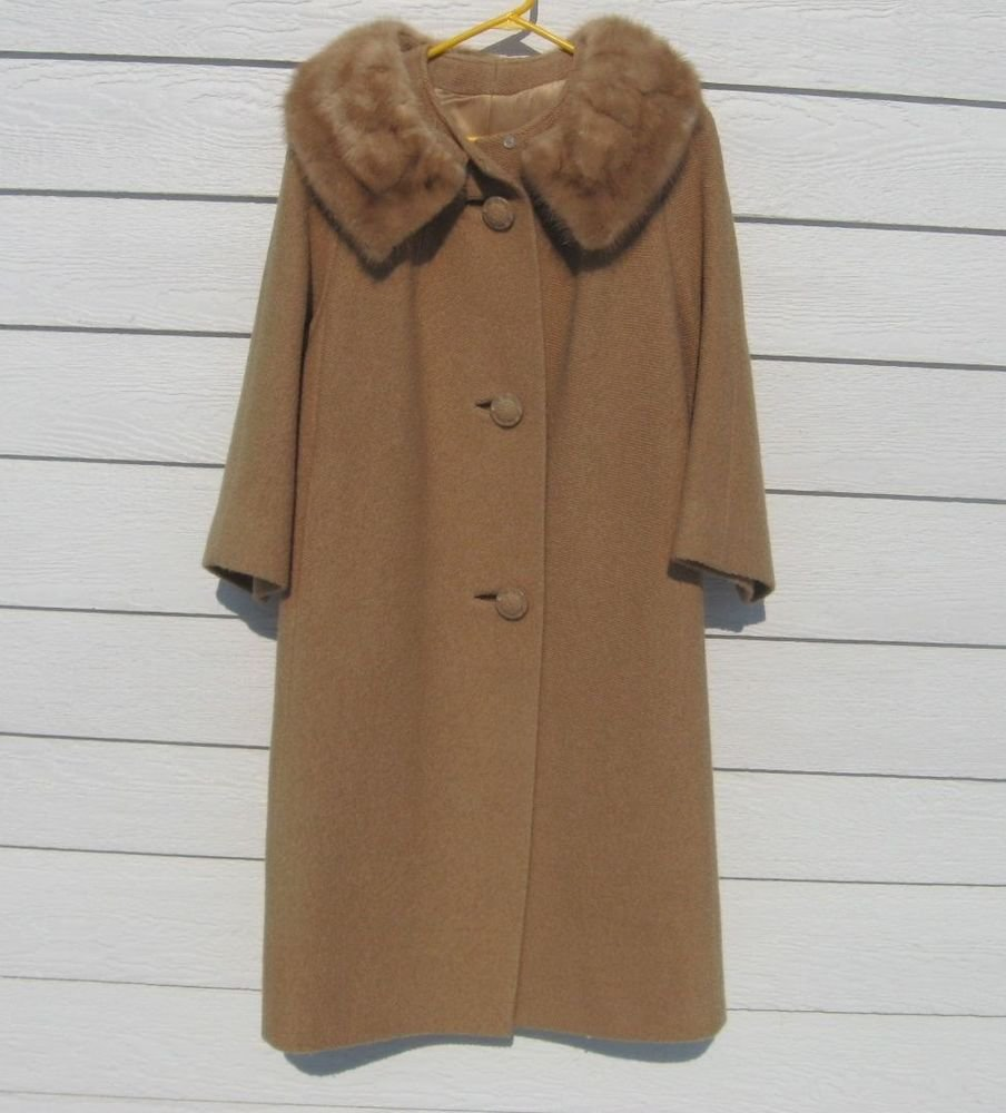 Vintage Coat 44 Chest International Ladies Workers 14 Fur Collar Jacket Tan