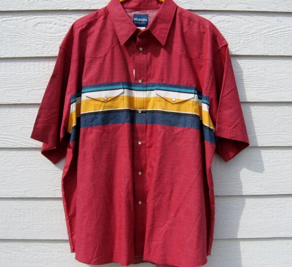 Wrangler Western Shirt XXL New NWT Red Short Sleeve Striped