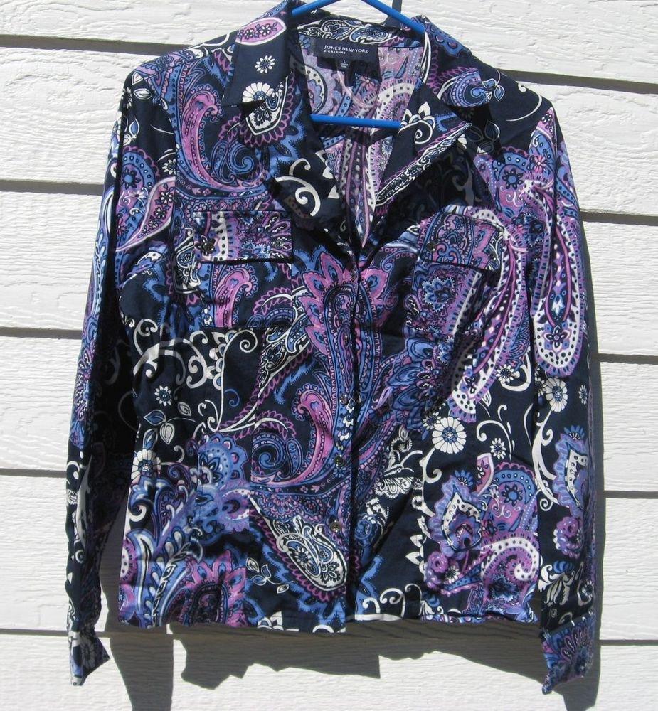 Jones New York Shirt L Large Blue Paisley Flowers Blouse Top