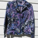 Jones New York Shirt L Large Blue Paisley Flowers Blouse Top