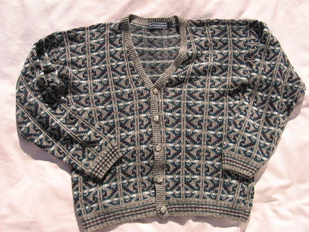 David Taylor Cardigan Sweater L Large 44 Chest Beige Tan Pattern