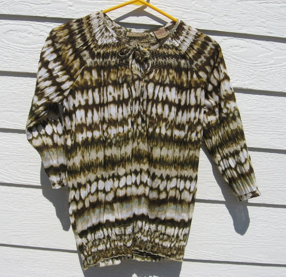 Art and Soul Tie Dye Peasant Top S Small 34 Chest Browns Ivory BoHo Gathered
