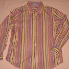 Foxcroft Stripe Blouse 12P Shirt Pastel Wrinkle Free