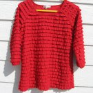 Moa Moa Red Ruffle Top S Small 35 Chest Knit Pull Over Top