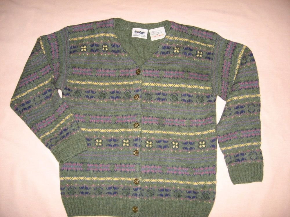 Sweater Avocado Green Cardigan M Medium Northern Reflections 100% Wool Stripe