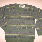 Sweater Avocado Green Cardigan M Medium Northern Reflections 100% Wool Stripe