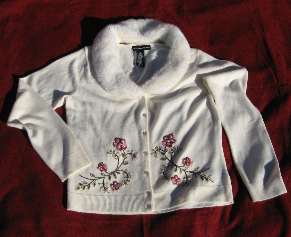 Sweater Medium Embroidered Norton McNaughton Detachable Fur Collar Ivory