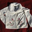 Sweater Medium Embroidered Norton McNaughton Detachable Fur Collar Ivory