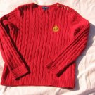 Chaps Red Sweater L Large Button Shoulder Cotton