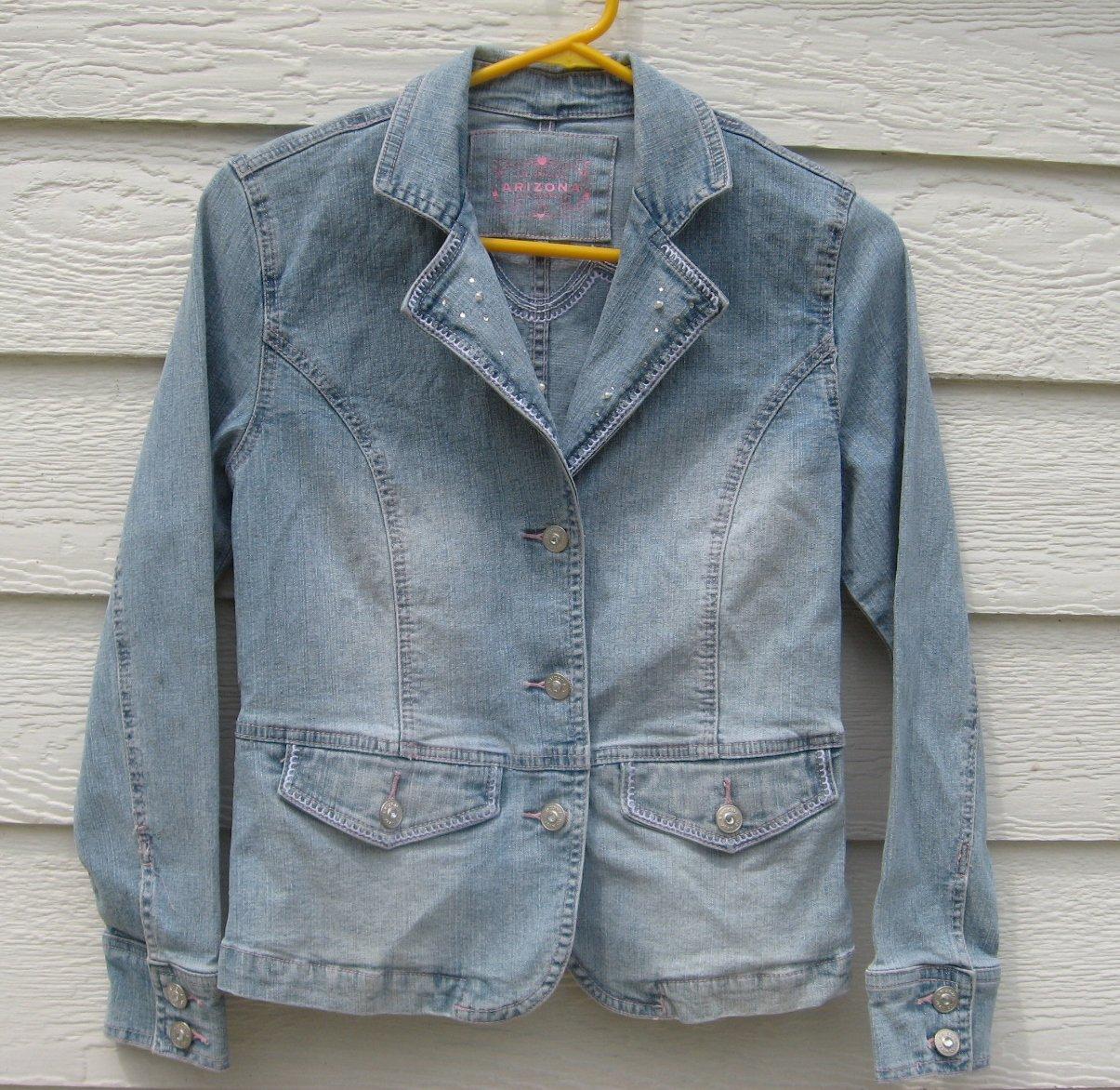 Arizona Denim Blazer Jacket Jr Large 32 Chest Embroidered Pearls Blue Jean