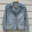 Arizona Denim Blazer Jacket Jr Large 32 Chest Embroidered Pearls Blue Jean