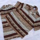 Koret 2 Piece Top Skirt 16W EUC Brown Stripe  46 Chest 30 Waist
