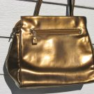 Mondani New York Metallic Vinyl Purse Deep Gold Brass Soft