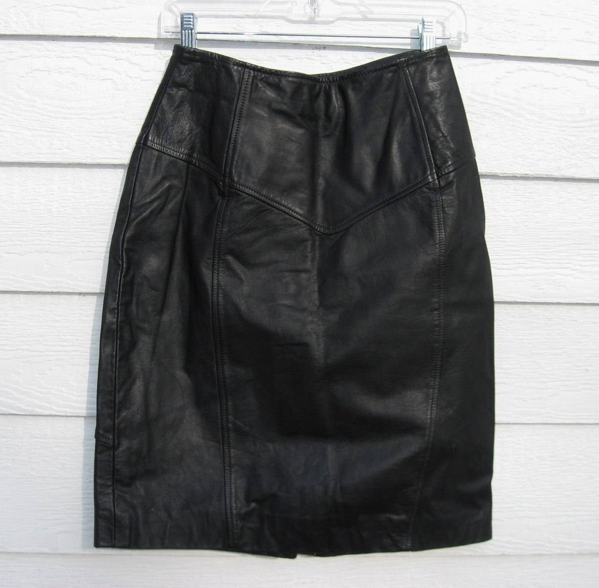 Design Assets Leather Skirt 26 Waist 8/10 Lined Black Straight