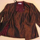 Karen Miller Top Jacket 12 Red Brocade Paisley 2 piece Set