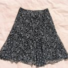 Briggs New York Floral Skirt PM 30 Waist Black White Sheer Lining