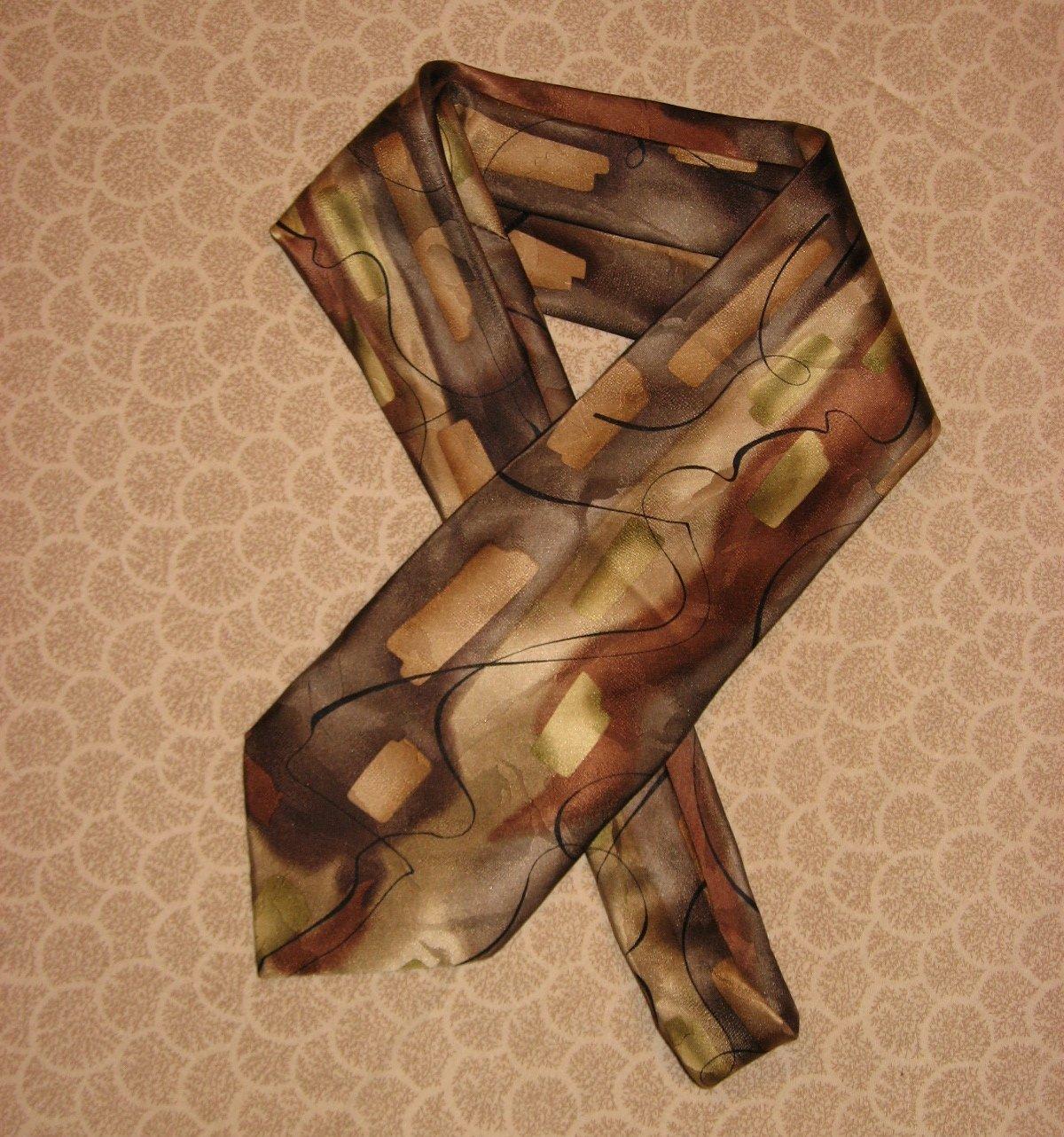 J Garcia Silk Brown Tan Pattern 2003 Jerry Collection Thirty Five