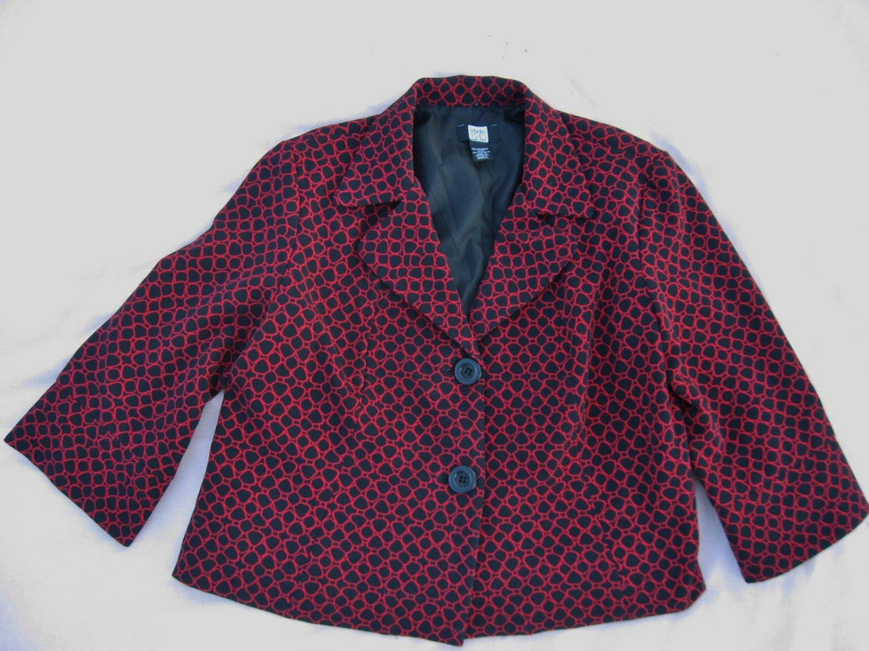 Studio 1940 Blazer L Large Black Red Circle Coat Jacket