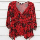 Studio 1940 Top Medium M Red Black 34 Chest Sequin