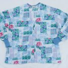 Fundmetal Scrub Top XL 51 Chest Blue Patchwork  Long Sleeve