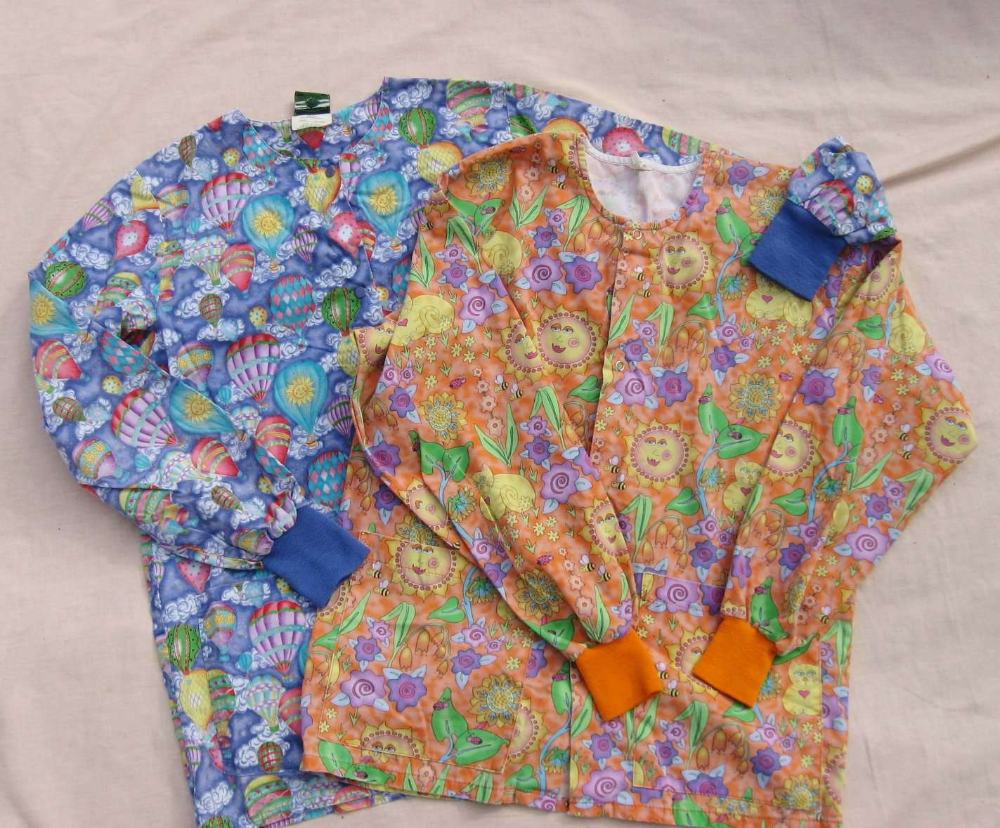 2 Scrub Tops S 42 Chest Blue Orange Prints Long sleeve