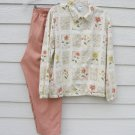 Alfred Dunner 2 pc Zipper Top 32 waist Pants Ivory Floral Dark Peach Pants