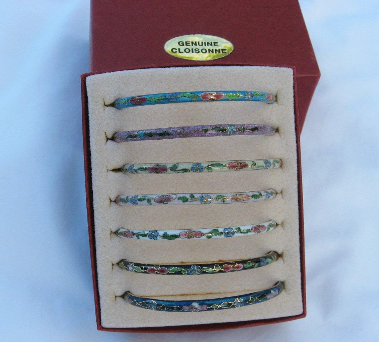 7 Cloisonne Bangles Bracelets 2 3/4 Diameter Genuine