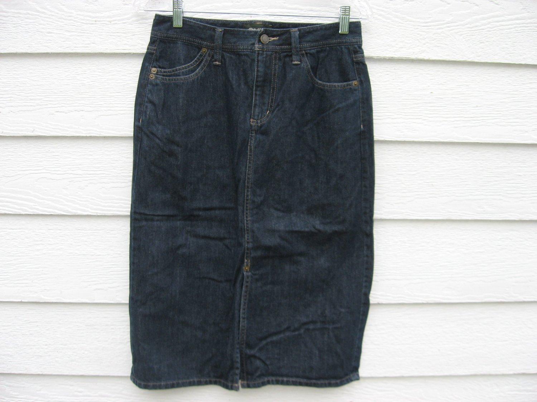eddie bauer denim skirt 30 waist blue jean euc 17 length