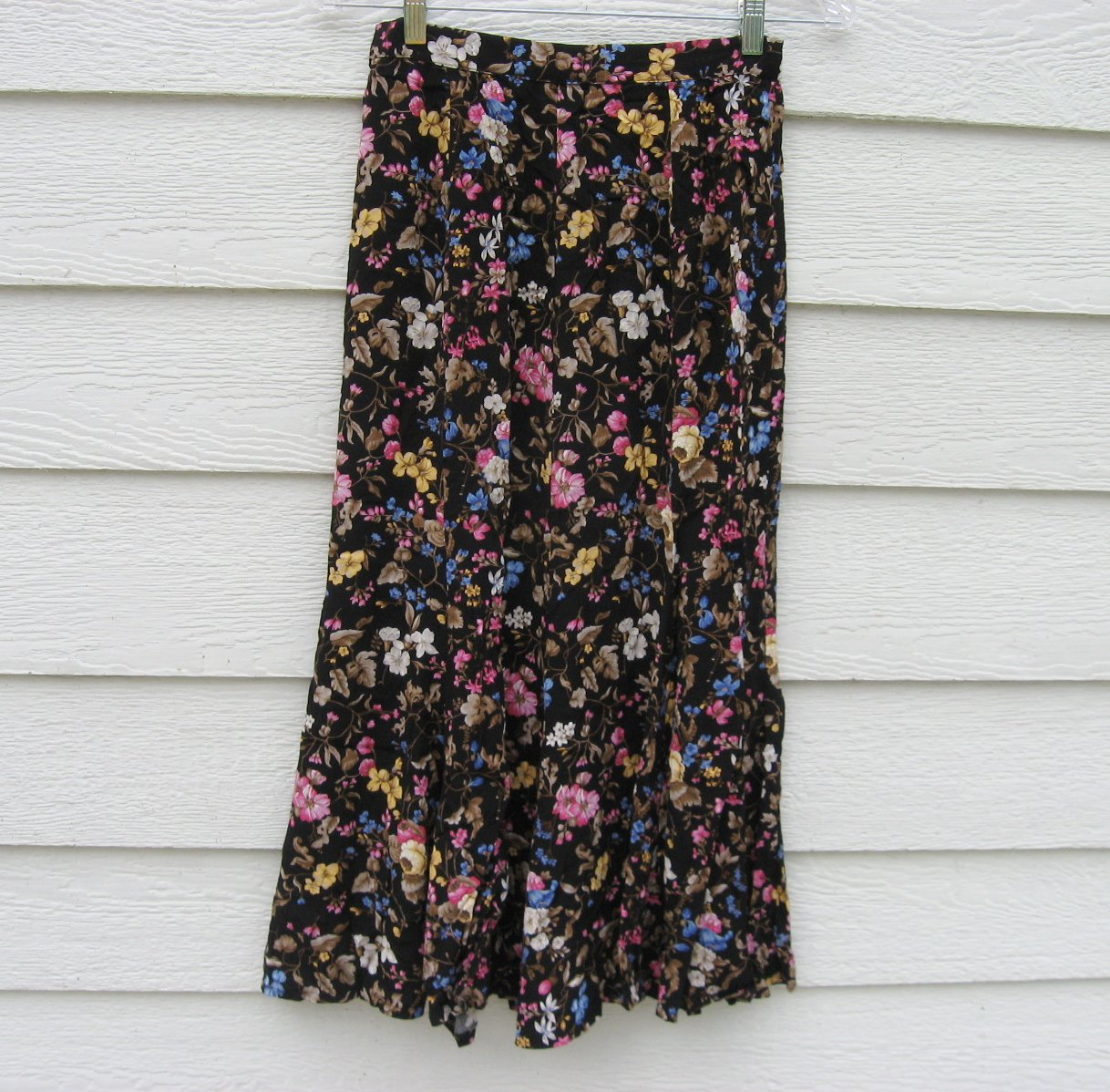 Liz Claiborne Skirt 26 Waist Black Floral Ankle Length