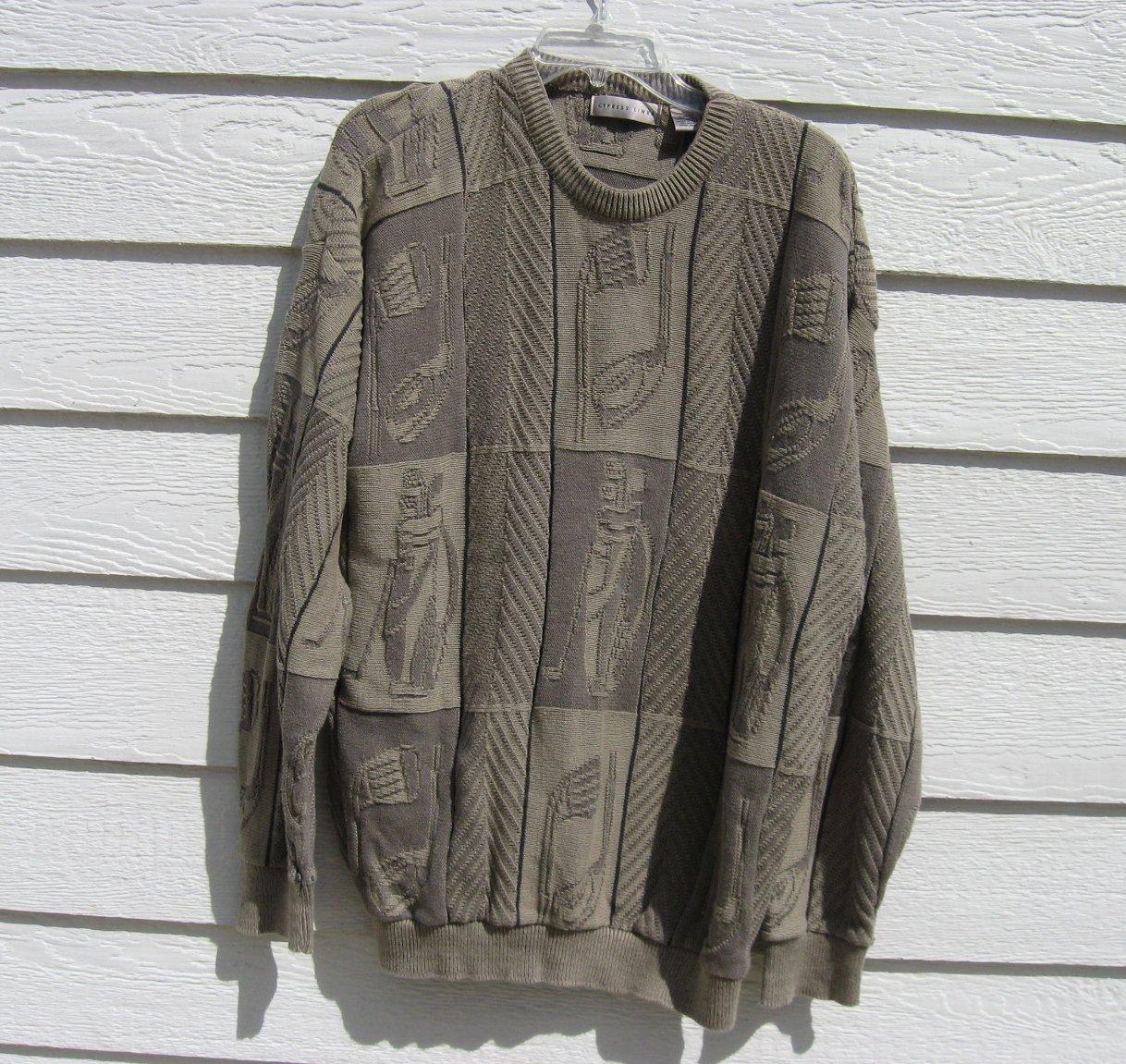 Cypress Link Golf Sweater XL 52 Chest Army Green Golf Clubs Texture