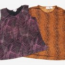 2 Tops X August Max Black Print Kathy Ireland Brown Animal Print Shimmers