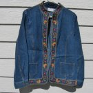 Alfred Dunner Denim Blazer 12 44 Chest Blue Jean Shrug Embroidered