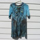 Apt. 9 Top Medium M 34 Chest Blue Empire Knit Boho Peasant Print