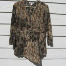 Dressbarn Cross Over Top XL 38 Chest Black Tan Leaf Pattern Crinkle Pleated