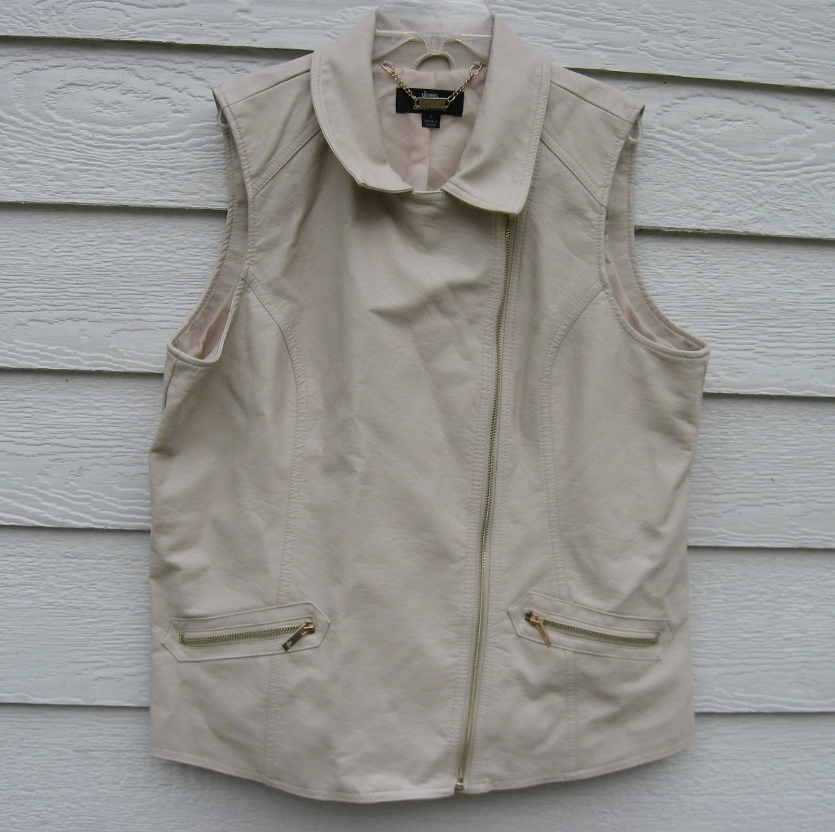 Dennis Basso Cream Faux Leather Vest Large 44 Chest EUC Motorcycle Outdoors