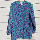 Cherokee  Scrub Top XS 42 Chest NWT Stain Glass Blue Green Pink Medical Vet