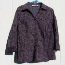 Croft & Barrow Blouse XL 41 Chest Purple Pleated Floral 3/4 Sleeve EUC