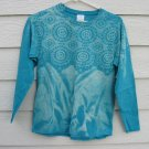 Bleach Top Shirt Small 35 Chest Teal Lace Pattern Gildan Ultra Cotton