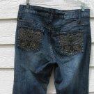 Gitano Blue Jeans 12 35x32 Embroidered Pockets Flared Denim