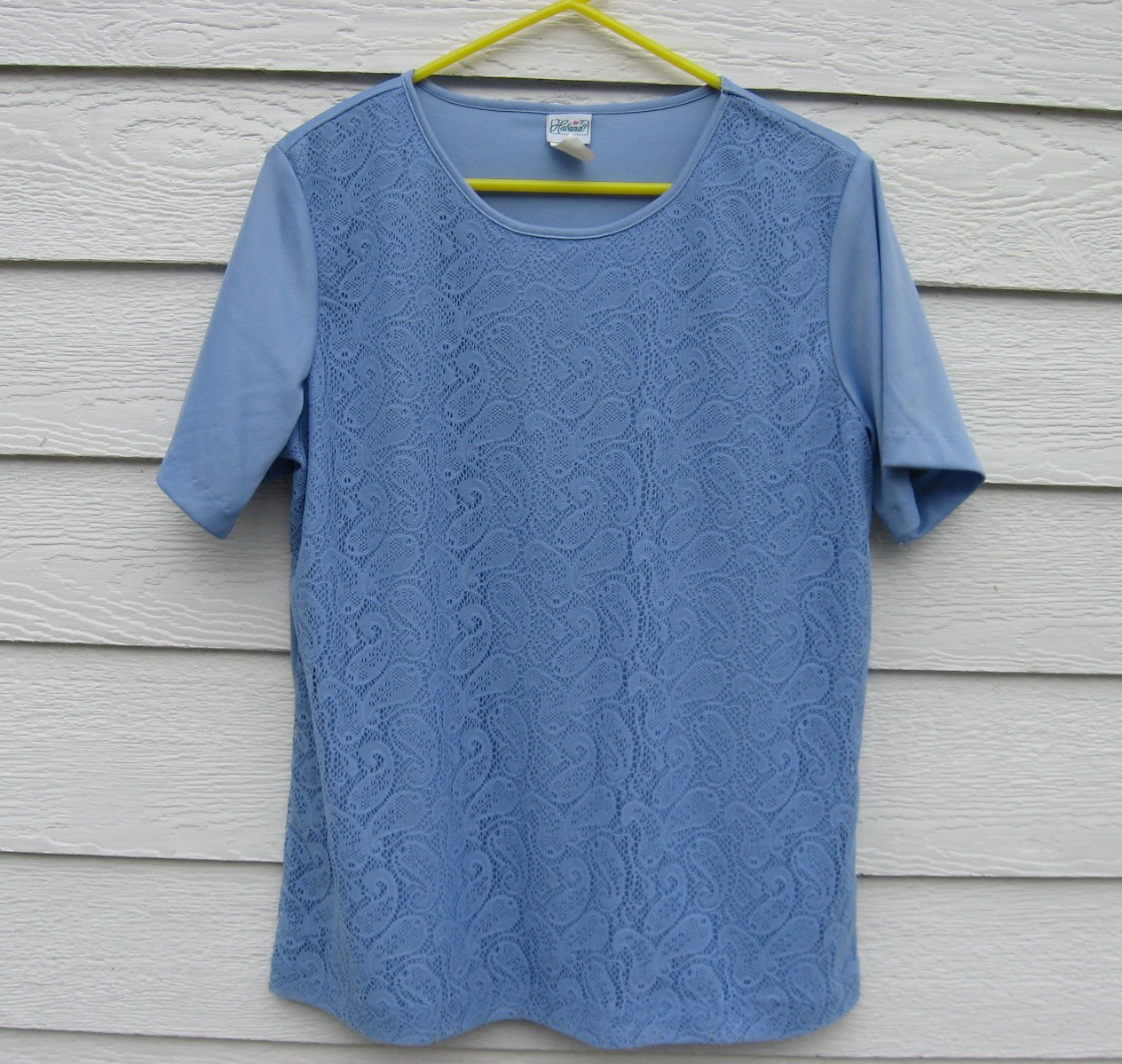 Haband Lace Front Top Large L 44 Chest Periwinkle Blue Double Layer Front