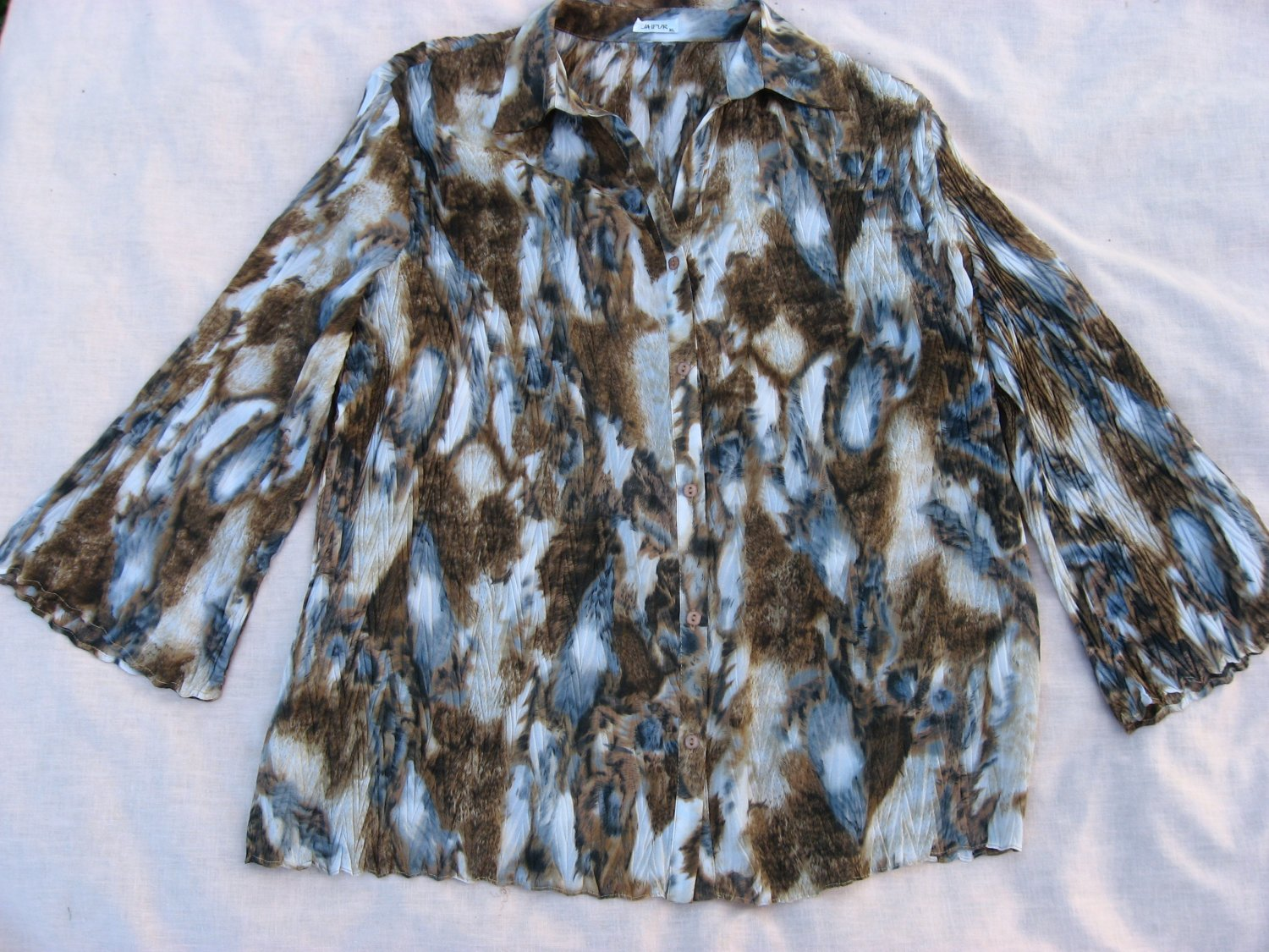 Jaipur Blouse XL 52 Chest Texture Pleat Abstract Pattern Shirt Top