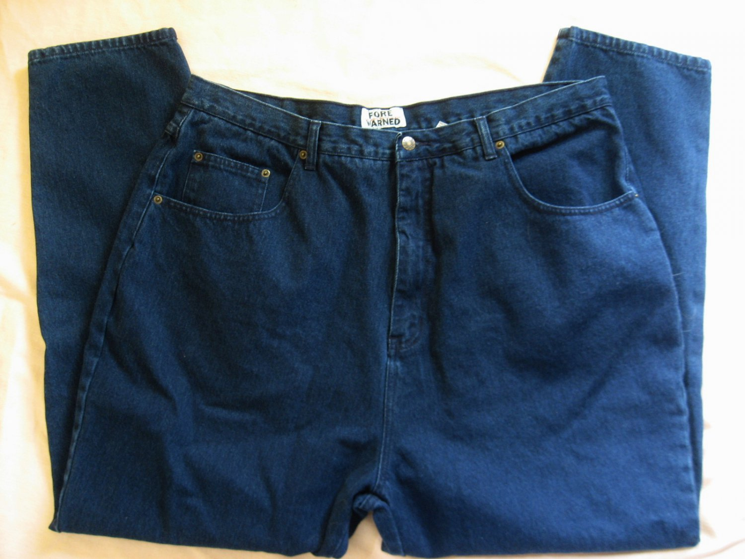 FORE WARNED Blue Jeans 24 41x29 Taper Leg EUC Denim