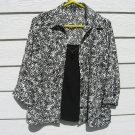 Notations Top Blouse Large 42 Chest Black White Blazer Faux Front