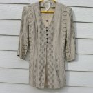 TR Bentley Tunic Top 9 35 Chest Tan Blue Faux Double Front Shirt Blouse