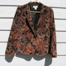 Talbots Petites Blazer Jackets 8 38 Chest Brown Paisley Plush Lined