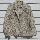 Studio Works Jacket 1X 50 Chest Linen Blend Lightweight White Tan Floral Flowers