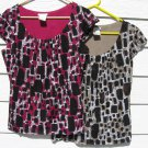 2 Worthington Knit Tops Large 39 Chest Print Layered Cap Sleeves